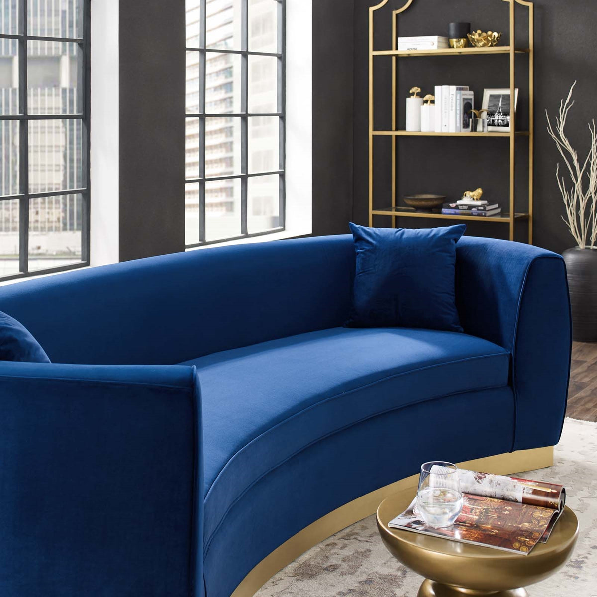 Cuxma Curved Velvet Sofa Navy