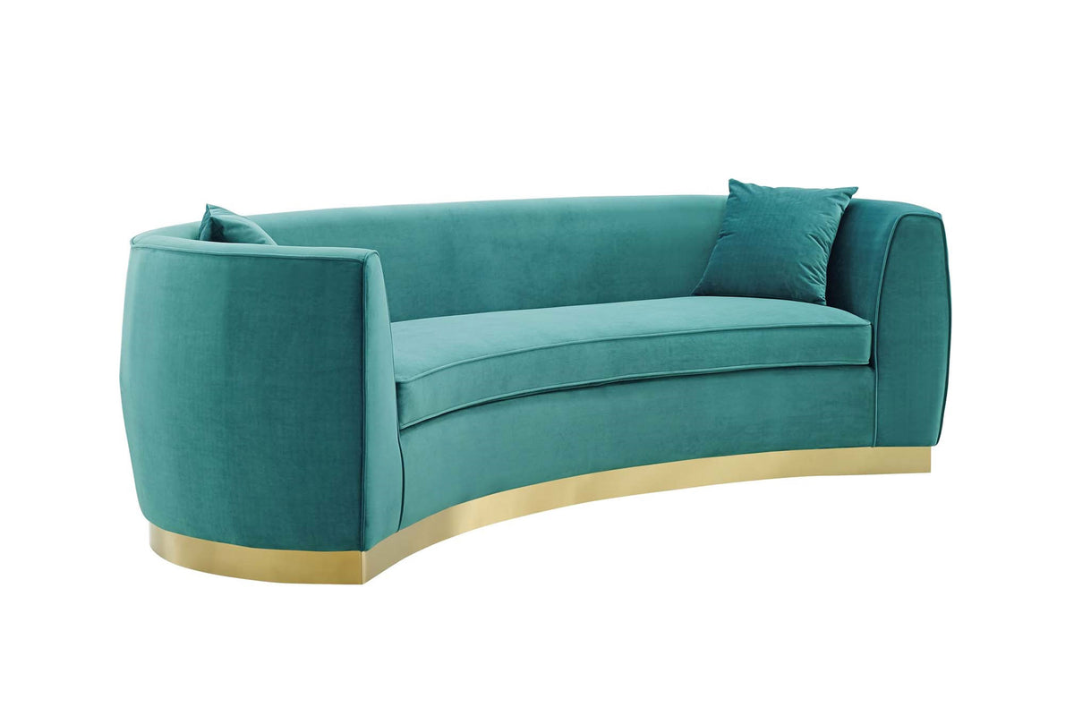 Cuxma Curved Velvet Sofa Teal