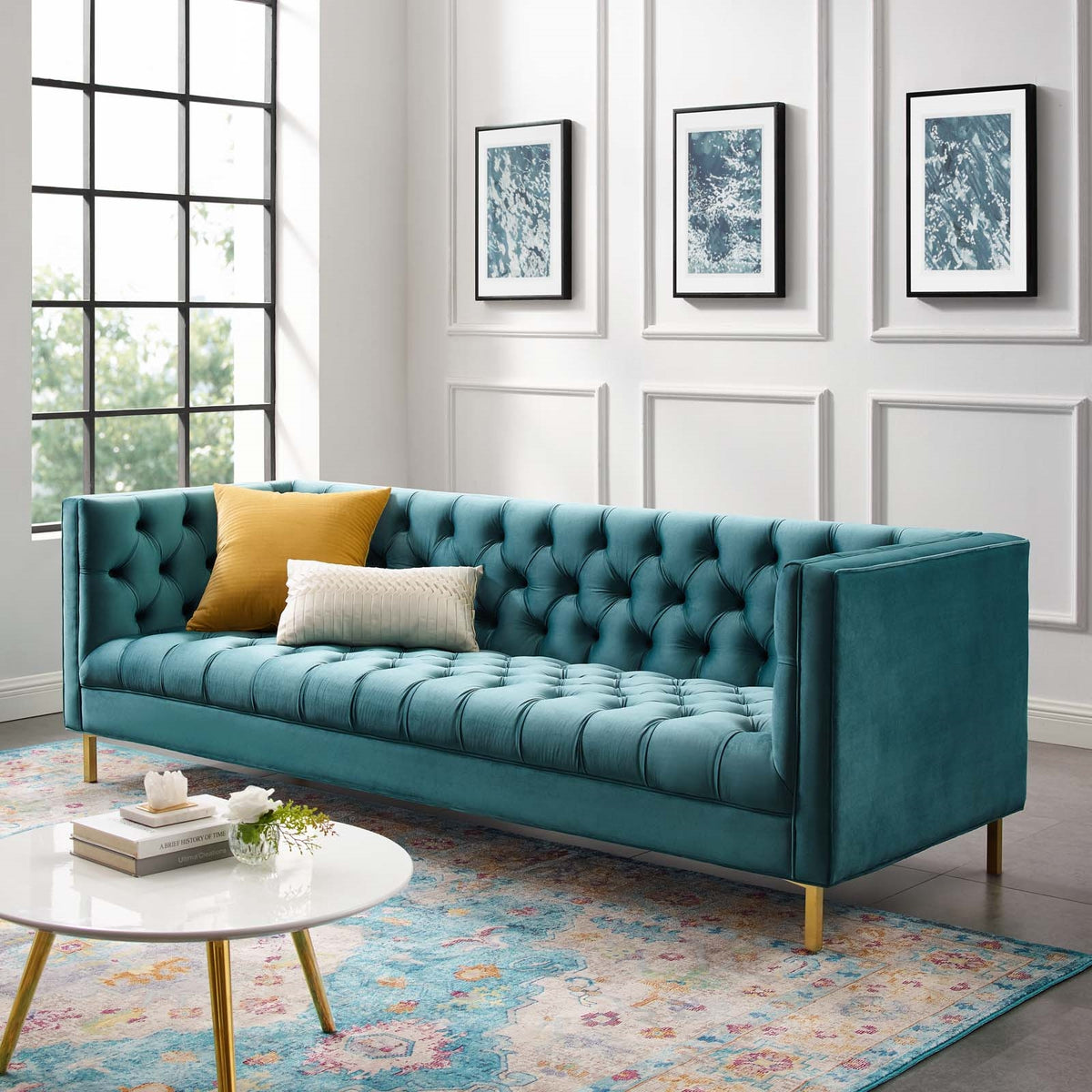 Pasha Velvet Sofa Sea