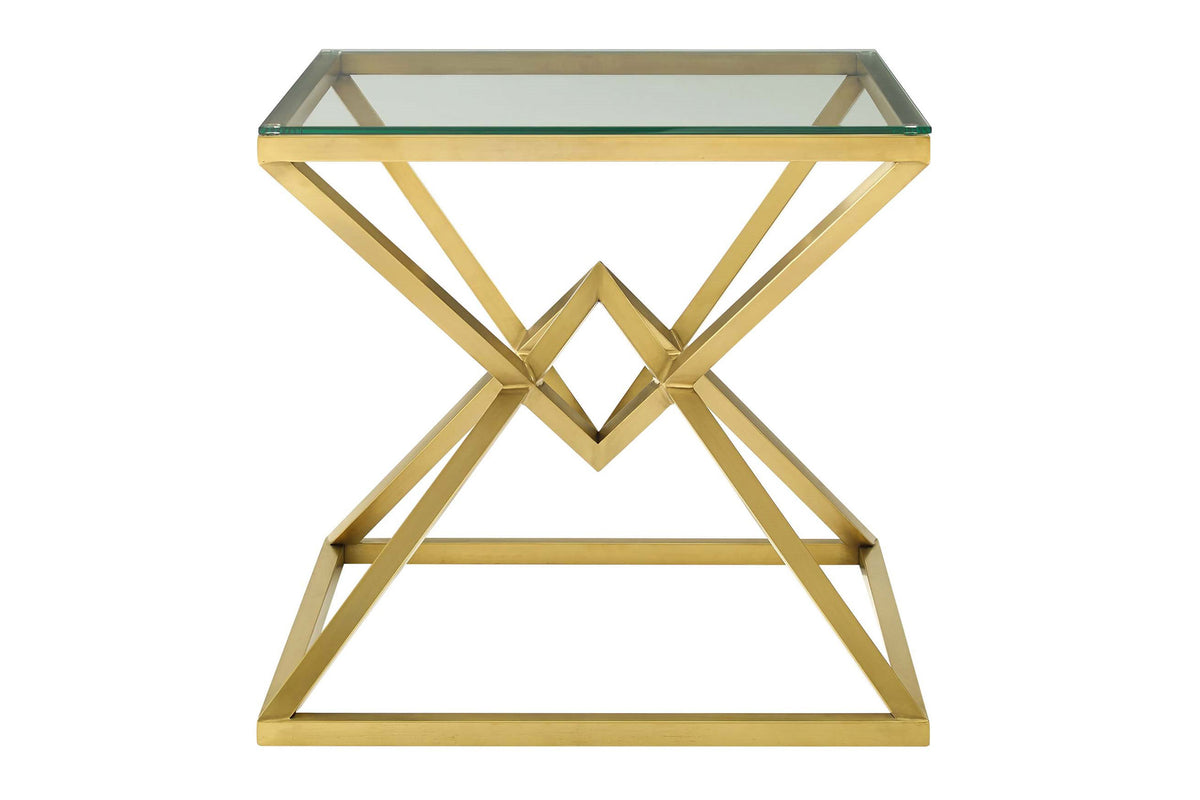 Zia Brushed Gold Metal Stainless Steel Side Table in Gold