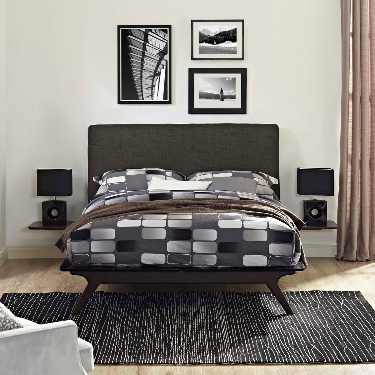 Lovo Queen Bed Set Capuccino Brown
