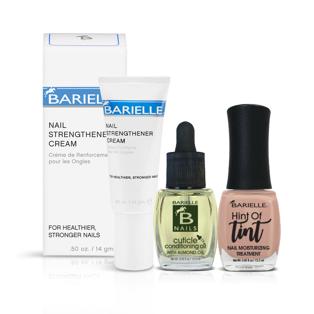 Barielle Hint of Tan Bundle nourishes and strengthens your nails while giving an elegant, neutral shade to nails. Bundle includes travel size Nail Strengthener Cream, Cuticle Conditioning Oil and Hint of Tint Nail Moisturizing Treatment in Hint of Tan.