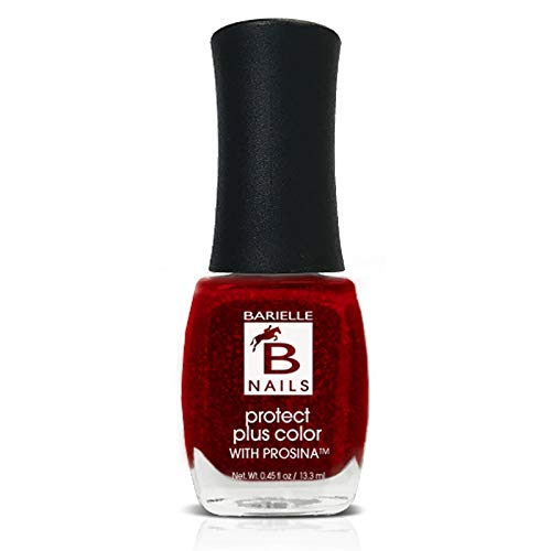 Protect+ Nail Color w/ Prosina - Elle's Spell (A Jelly Red w/ Colored Foil Flakes) - Barielle - America's Original Nail Treatment Brand