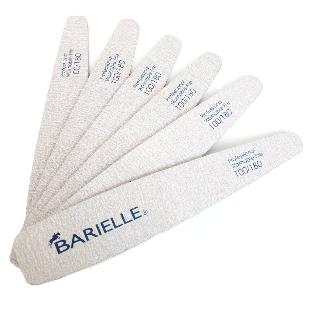 Barielle Washable and Reusable Nail Files 100/180 Grit - Gray (12 PACK) - Professional Nail Files for Acrylic Nails, Double Sided Emery Board for Long Lasting Manicure/Pedicure Finish - Barielle - America's Original Nail Treatment Brand