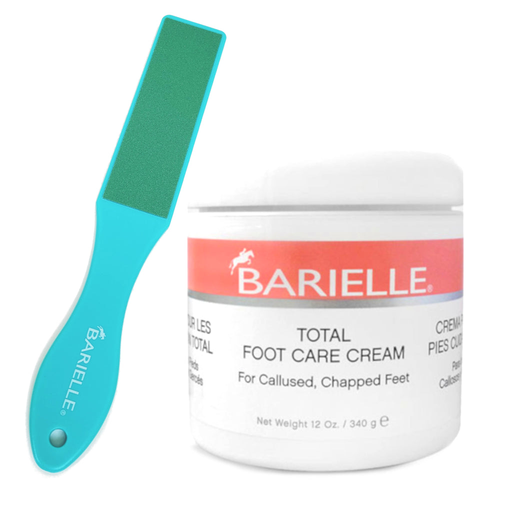"Barielle Total Foot Care Cream with Barielle Pedicure Foot Rasp File Callus Remover, Double Sided 10.7"" X 1.7"" with 10 Refill Grits - Barielle - America's Original Nail Treatment Brand"