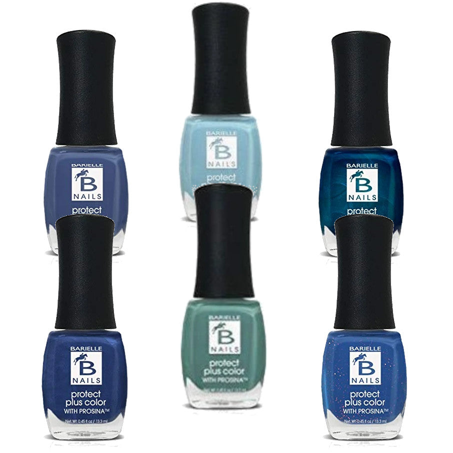 Barielle Protect Plus Nail Polish - Brilliant Blue 6-PC Collection: 6 Assorted Blue Nail Color Shades