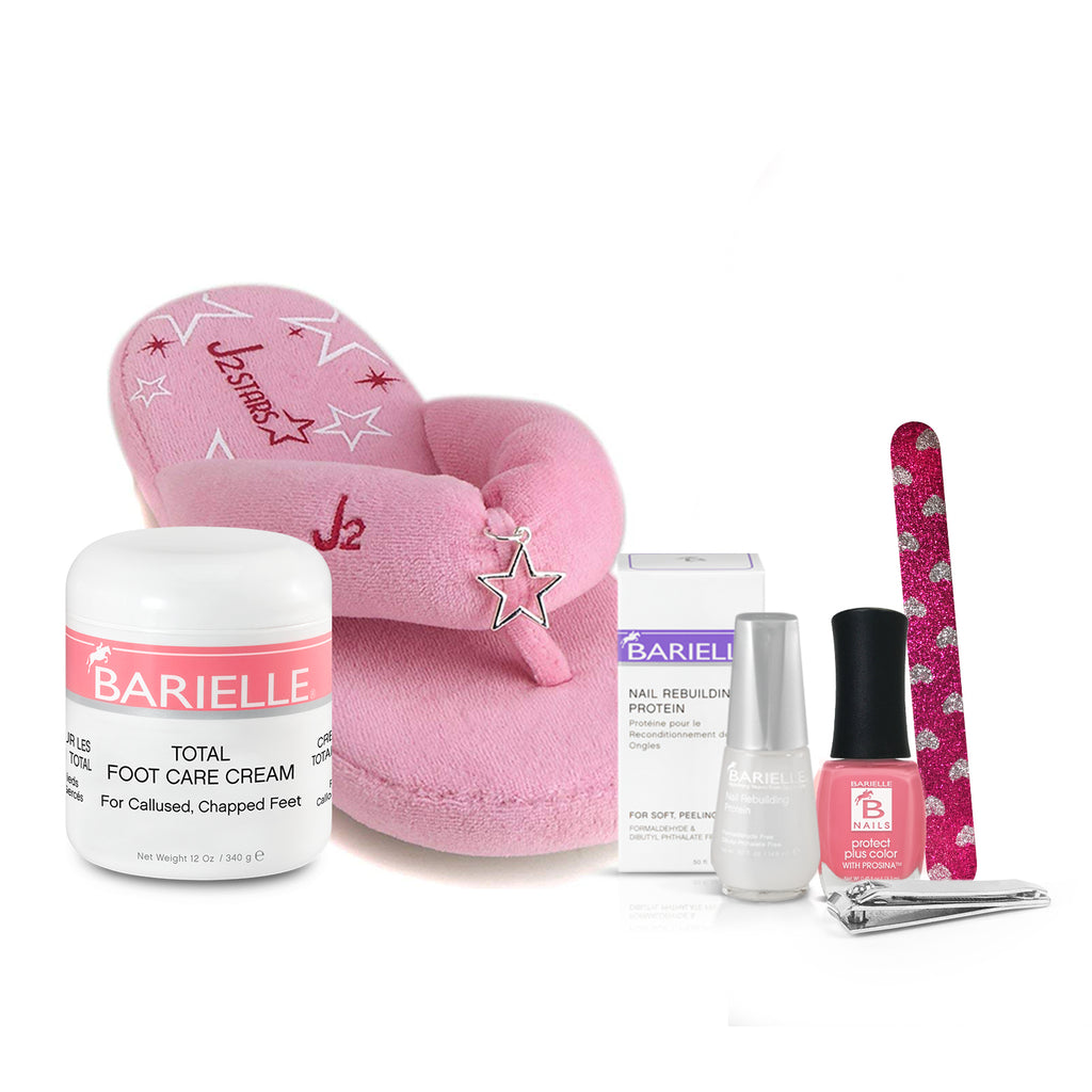 Barielle Happy Healthy Feet Collection (6-PC SET) w/ Plush Pink Flip-Flops - Barielle - America's Original Nail Treatment Brand