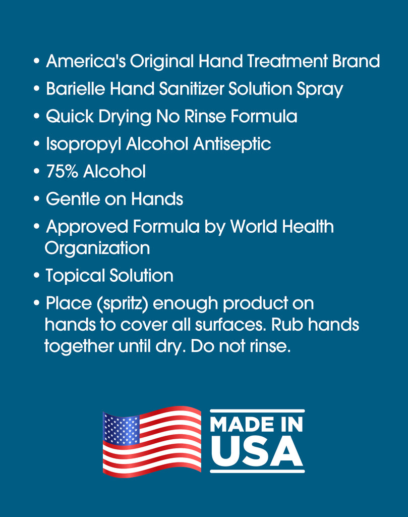 Barielle Hand Sanitizer Solution Spray - Quick Drying No Rinse Formula, 75% Alcohol 4 oz. - Barielle - America's Original Nail Treatment Brand