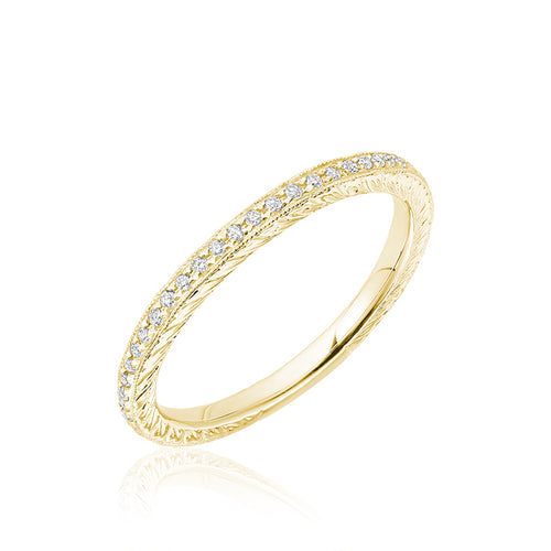 Diamond engraved stackable ring