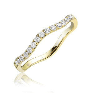 Diamond wavy stackable ring