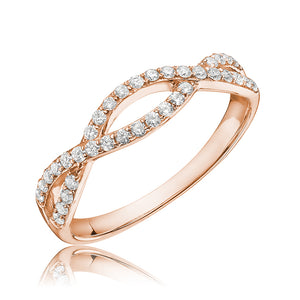 Diamond crisscross ring