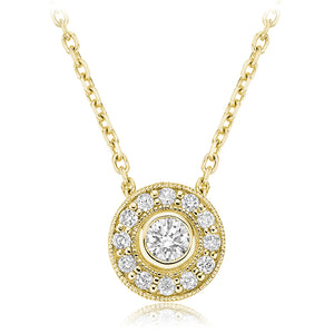 Diamond milgrain halo necklace