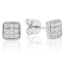 Load image into Gallery viewer, Diamond milgrain square pave earrings