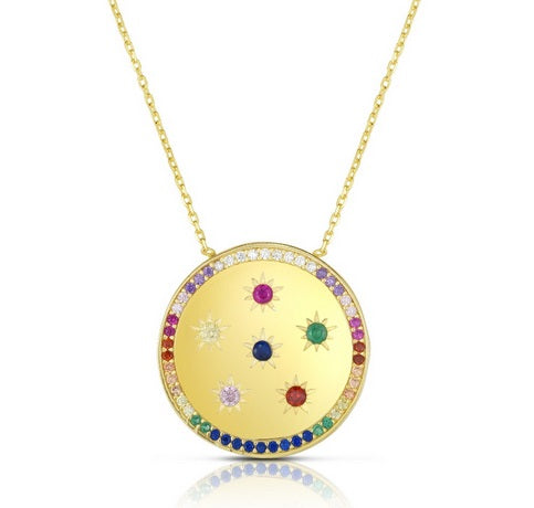 Multicolor DISC Necklace