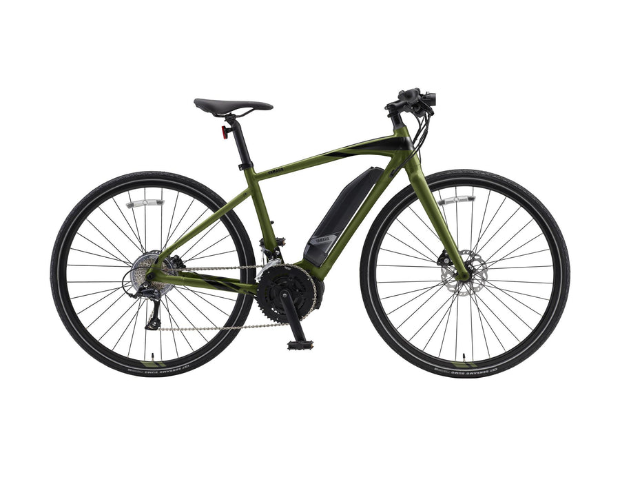 Yamaha Cross Core E-Bike-Electric Bicycle-Yamaha-Large (58 cm)-Olive-Voltaire Cycles of Highlands Ranch Colorado