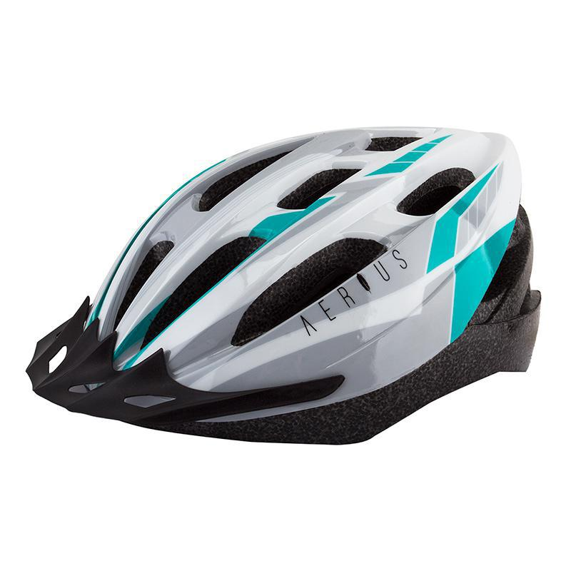 Aerius Sport V-19 Helmet-Helmets-Aerius-Silver/Tourquoise-XL-Voltaire Cycles of Highlands Ranch Colorado