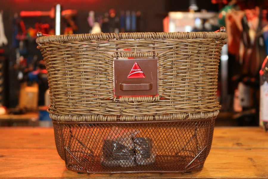 Axiom City Wicker DLX Bicycle Basket QR Tan-Bicycle Baskets-Axiom-Voltaire Cycles of Highlands Ranch Colorado