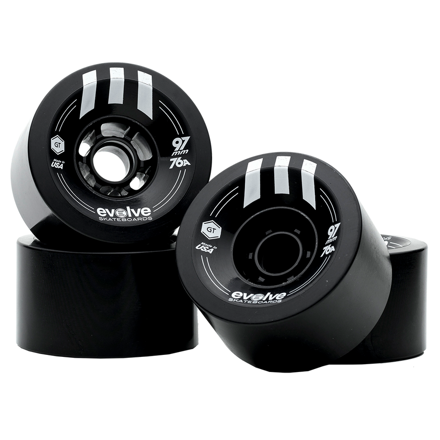 Evolve GTR Street Wheels - Multiple Colors-Electric Skateboard Parts-EVOLVE-97MM/76A - Black-Voltaire Cycles of Highlands Ranch Colorado