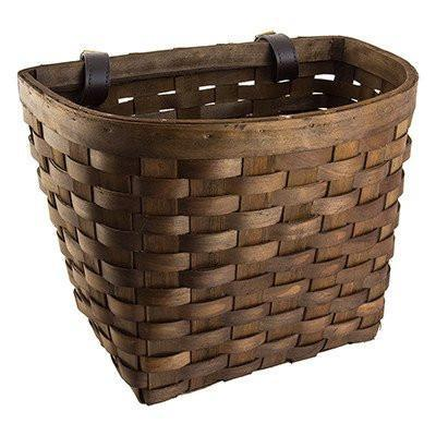 Sunlite Wooden Classic Bicycle Basket Dark Brown-Bicycle Baskets-Sunlite-Voltaire Cycles of Highlands Ranch Colorado