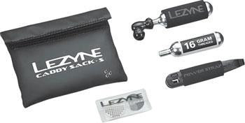 Lezyne Caddy Sack Pouch with C02 Tire Repair Caddy Kit: Black-Bicycle Tools-Voltaire Cycles of CO-Voltaire Cycles of Highlands Ranch Colorado