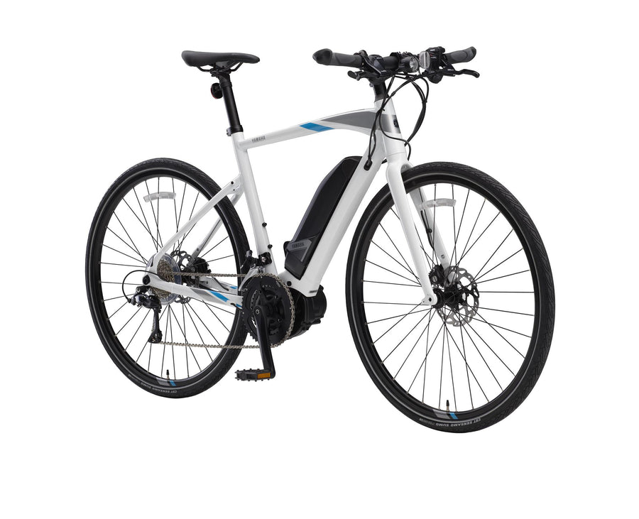 Yamaha Cross Core E-Bike-Electric Bicycle-Yamaha-Large (58 cm)-White Opal / Blue-Voltaire Cycles of Highlands Ranch Colorado