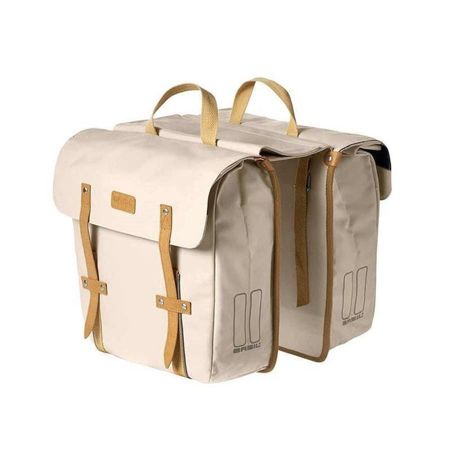 Basil Portland Double Bag Bicycle Panniers-Bicycle Panniers-Basil-Creme-Voltaire Cycles of Highlands Ranch Colorado