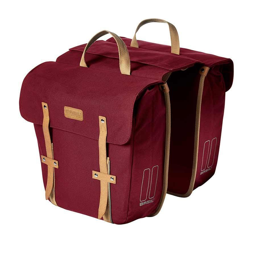 Basil Portland Double Bag Bicycle Panniers-Bicycle Panniers-Basil-Dark Red-Voltaire Cycles of Highlands Ranch Colorado