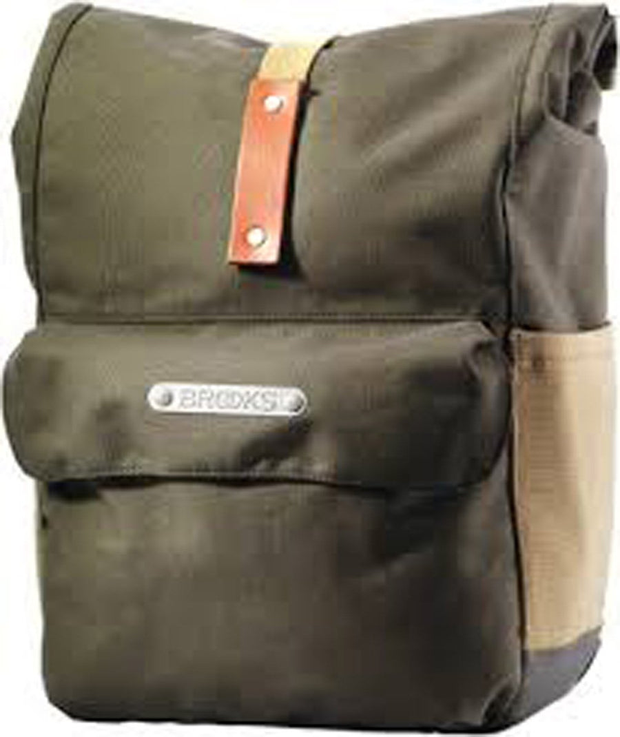 Brooks Norfolk Front Travel Bicycle Pannier-Bicycle Panniers-Brooks England-Green / Honey-Voltaire Cycles of Highlands Ranch Colorado