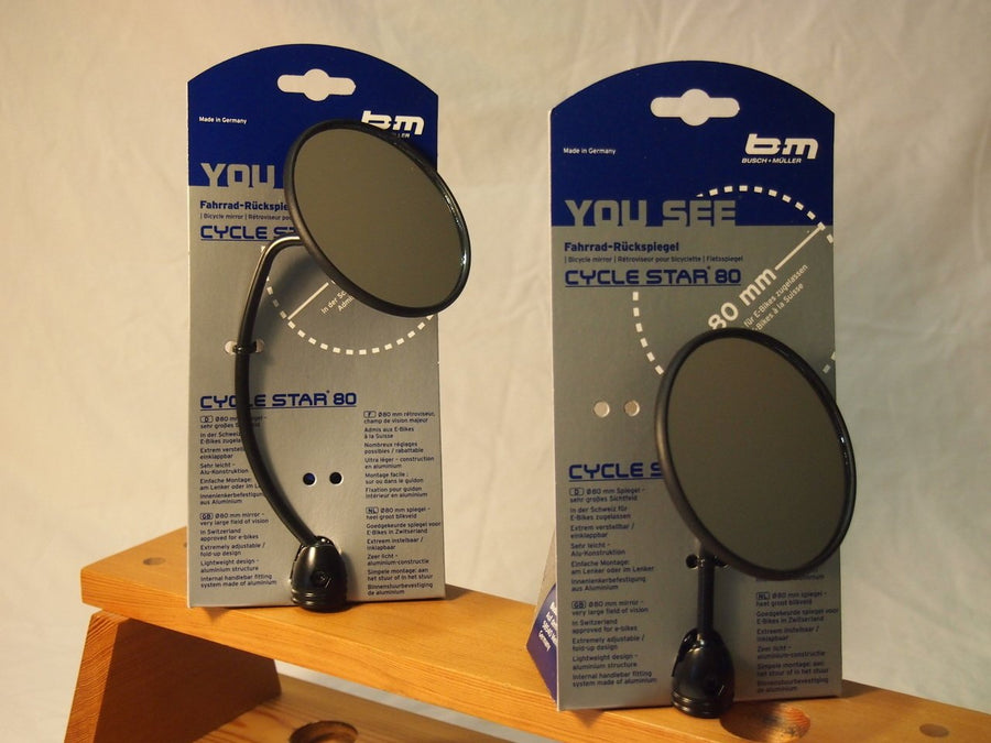 "Busch & Muller Bike Mirror Cycle Star 80 903/1 2"" straight stem-Bicycle Mirrors-Busch-Muller-Voltaire Cycles of Highlands Ranch Colorado"