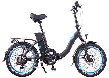 Magnum Classic Low Step 350w Electric Folding E-Bike-Electric Bicycle-Magnum-Black with Blue Accents-Voltaire Cycles of Highlands Ranch Colorado