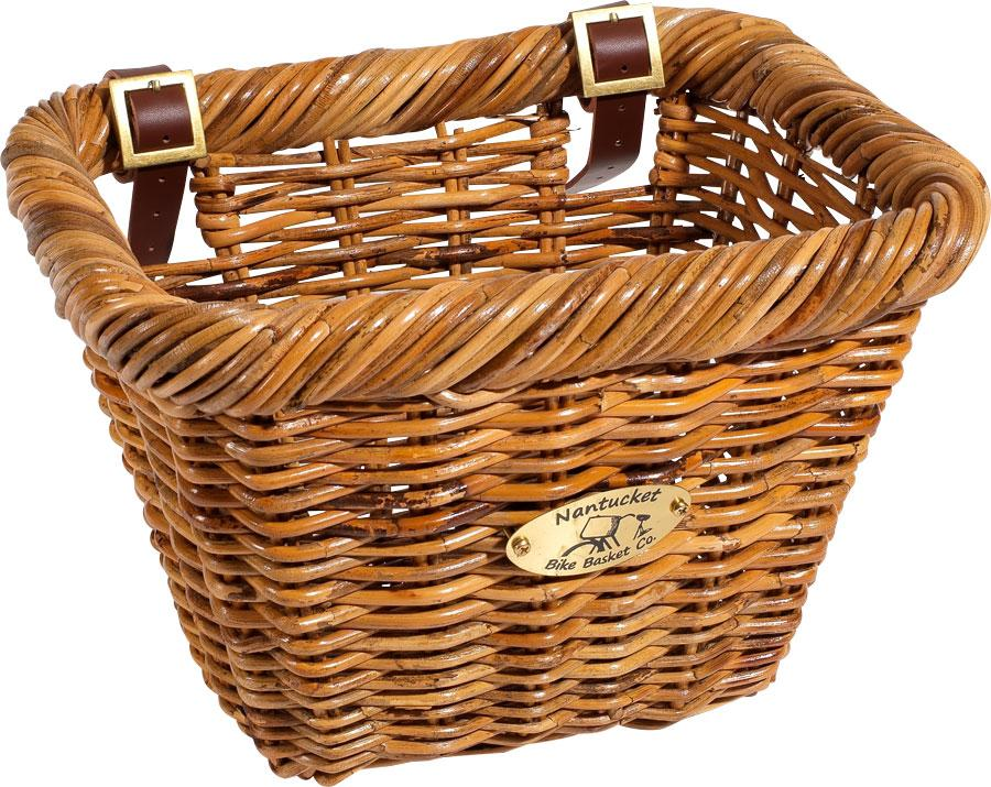 Nantucket Cisco Front Basket, Rectangular Shape Honey-Bicycle Baskets-Nantucket Bike Basket Co-Voltaire Cycles of Highlands Ranch Colorado