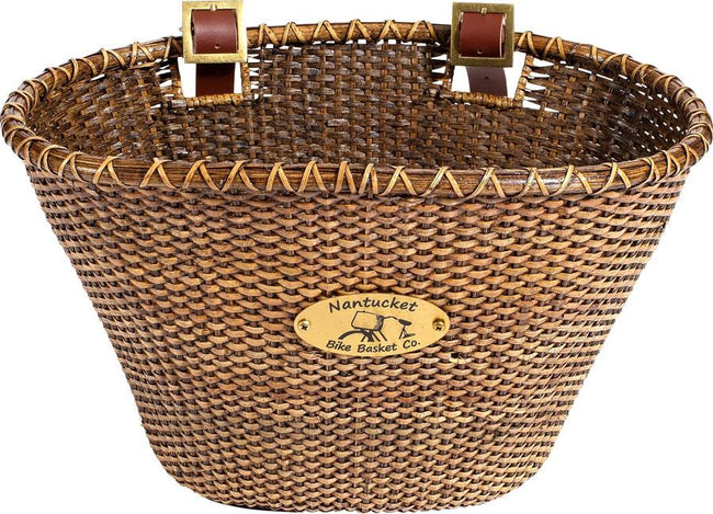Nantucket Lightship Front Basket, Oval Shaped-Bicycle Baskets-Nantucket Bike Basket Co-Stained-Voltaire Cycles of Highlands Ranch Colorado