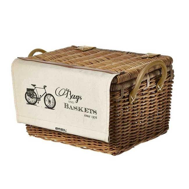 Basil Portland Front Basket w/Cover Rattan Natural Brown-Bicycle Baskets-Basil-Voltaire Cycles of Highlands Ranch Colorado