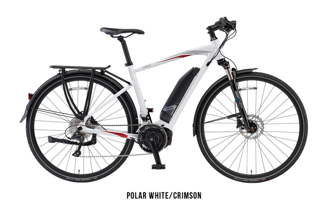 Yamaha Cross Connect E-Bike-Electric Bicycle-Yamaha-Small (54 cm)-Polar White / Crimson-Voltaire Cycles of Highlands Ranch Colorado