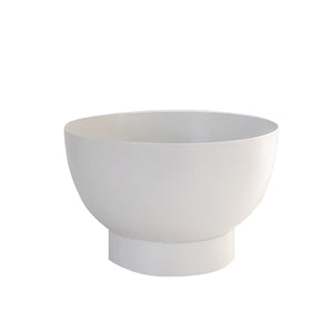 Round spun metal white planter