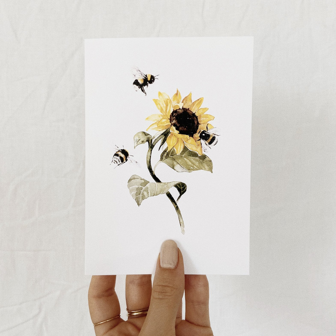 sunflower & bees Card