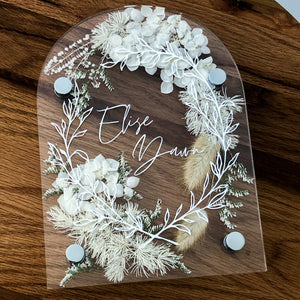 ***FEBRUARY PRE-ORDER*** Personalised Arched Acrylic pressed flower plaque