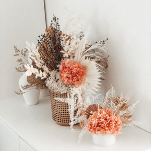 X-large dried and preserved arrangement in Rattan planter