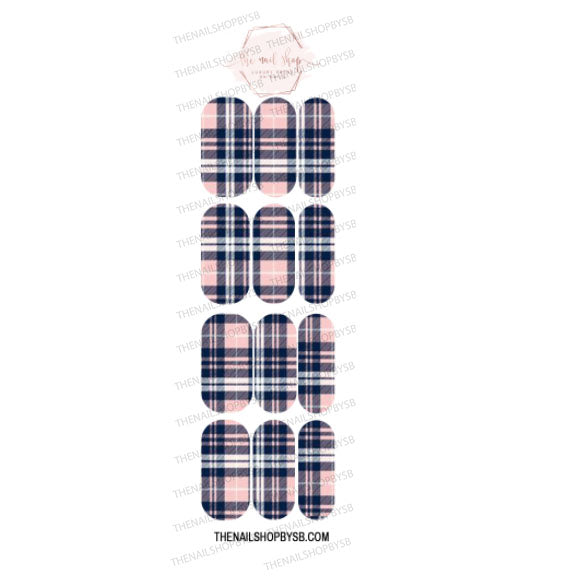 DECAL - 10 PINK BLUE PLAID