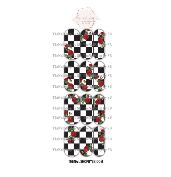 DECAL - XL CHECKERED ROSES
