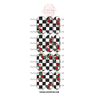 DECAL - CHECKERED ROSES