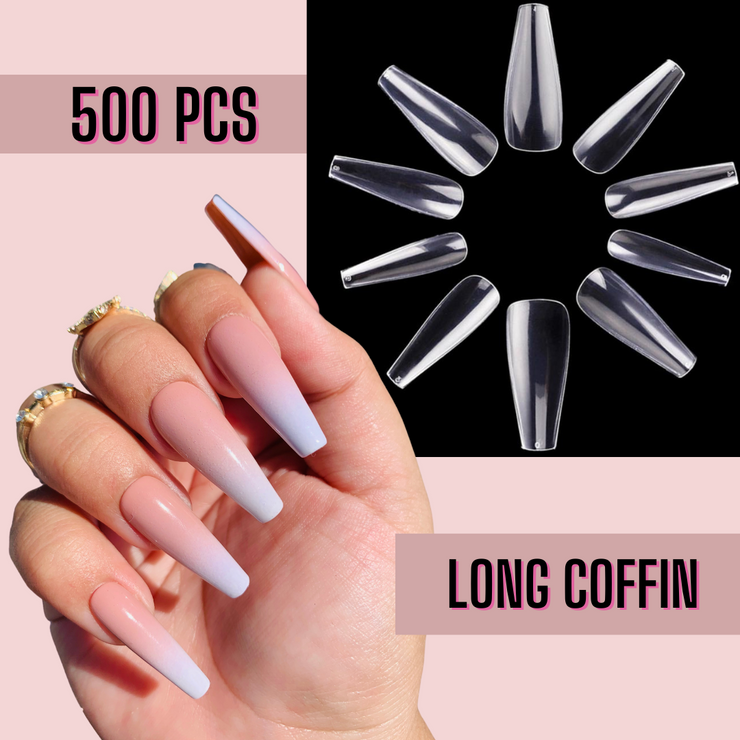 Sculpted Long Coffin Nail Tips