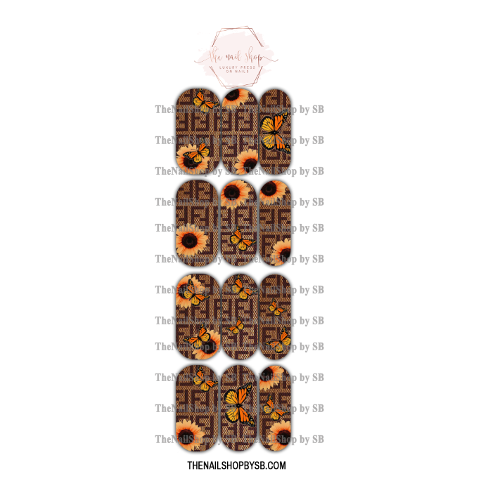 DECAL - XL BROWN FENDI SUNFLOWERS