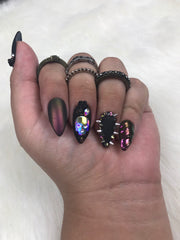 Midnight Fantasy |Press On Nails |Gel Nails| Any Shape and Size| Purple Nails| Skulls| Matte Black|