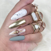 Forest Dream Press On Nails | Green Nails | Gold Nails | Marble Nails | Line Work | Classy Nails | Stiletto Nails | Coffin Nails