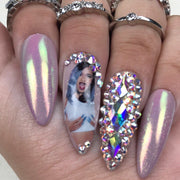 Cardi B Diamond Set | Press on Nails | Fake Nails | Any Shape and Size | Gel Nails | Swarovski Nails | Purple Nails | Chrome Nails | Cardi B