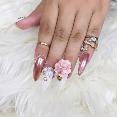 Blooming Golds | Press on Nails | Chrome Nails | Rosegold Chrome | Fake Nails | Flower Nails | Any Shape and Size | Beige Nails |