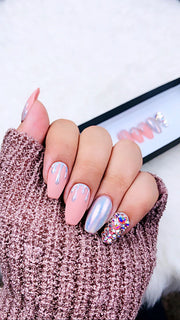 Unicorn Holo Dripping Press on Nails | Unicorn Nails| Holographic | Swarovski Nails | Chrome Nails | Sparkly Nails | Pink Nails| Fake Nails