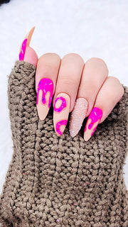 Donut Fantasy Nails | Pink Nails | Hot Pink Nails | Dripping Nails | Confetti Nails | Ice cream Nails | Swarovski Nails |  Sparkly Nails