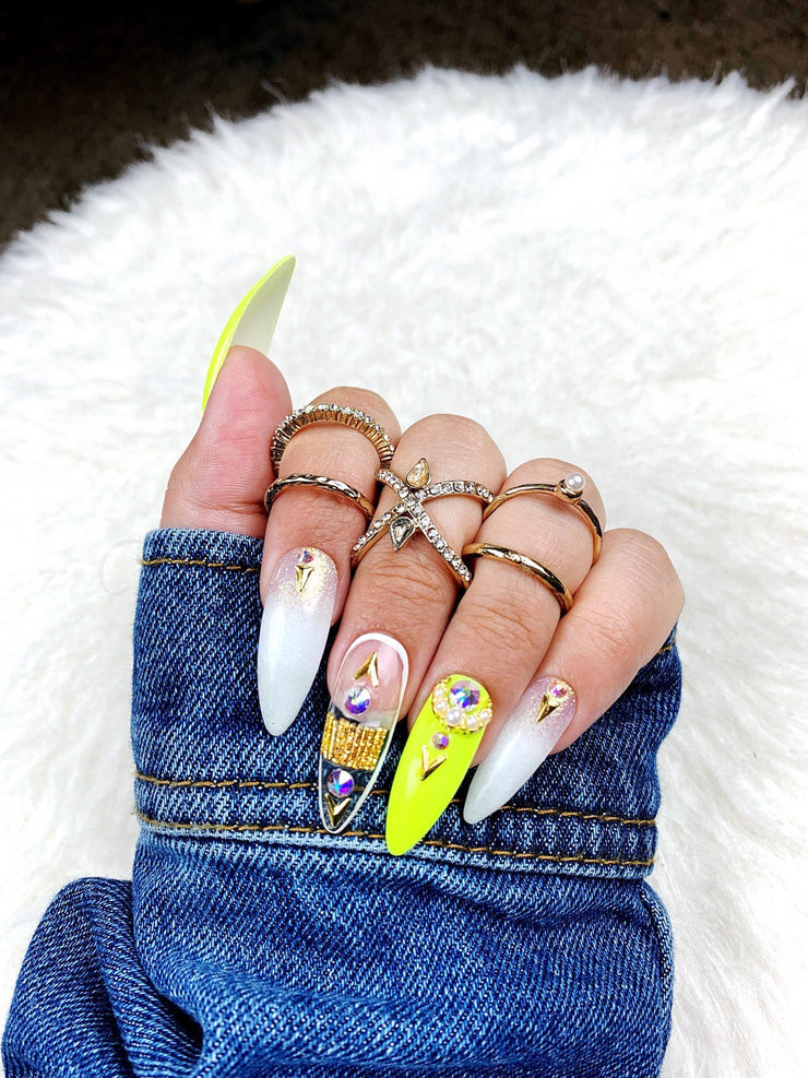 Neon Goddess | Press on Nails | Yellow Nails | Ombre Nails | Fake Nails | Any Shape and Size | Gold Nails | Swarovski Nails | Neon Nails |